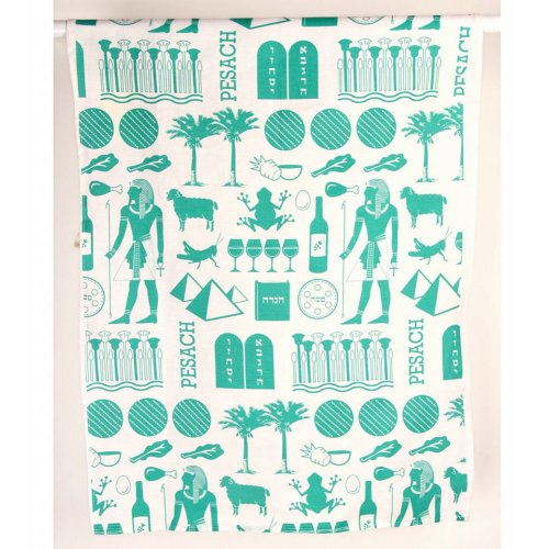Colored Dish Towel with Pesach Images - Barbara Shaw