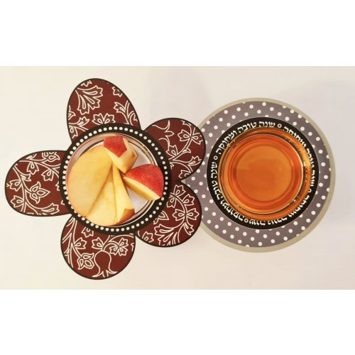 Combined Honey and Apple Dish with Glass Bowls, Colorful - Dorit Judaica