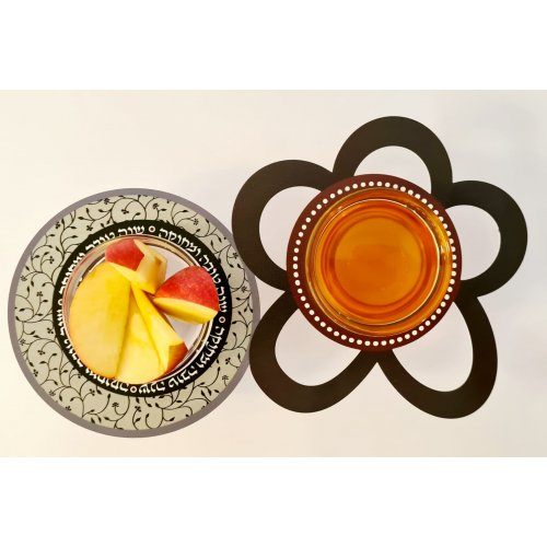 Combined Honey and Apple Dish with Glass Bowls, Floral Design - Dorit Judaica