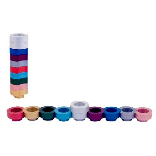Compact Doughnut Travelling Menorah, Choice of Colors - Agayof
