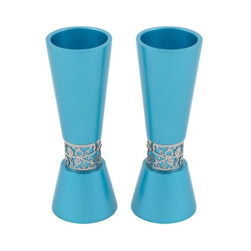 Cone Shaped Candlesticks with Silver Pomegranate Band, Teal - Yair Emanuel