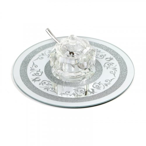 Crystal Honey Bowl with Spoon and Lid on Round Crushed Glass Decorative Tray