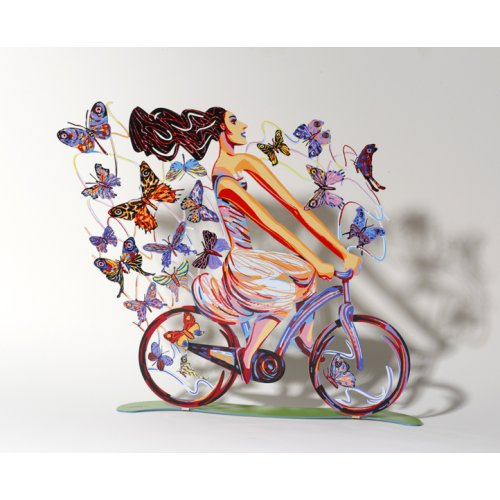 David Gerstein Free Standing Double Sided Bicycle Sculpture - Rider in Euphoria