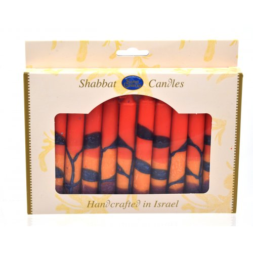 Decorative Red Orange and Purple Safed Shabbat Candles