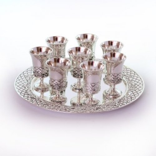 Diamond Pattern Small Kiddush Cup and Tray Set