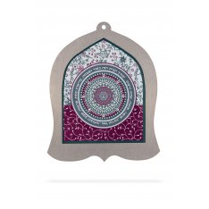 Dorit Judaica Wall Plaque - Hebrew Home Blessing with Maroon Flowers