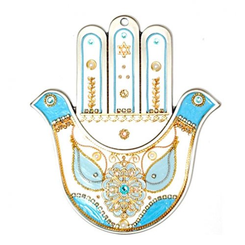 Dove Hamsa in White and Blue by Shahaf