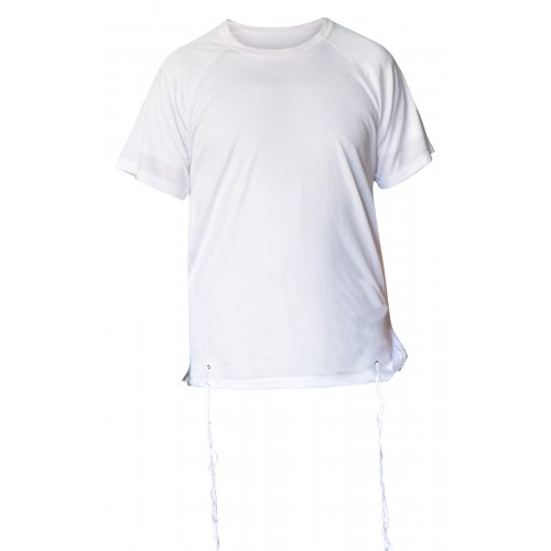 Dry-Fit Tzitzit T-shirt With Kosher Tzitzis in White by Talitnia