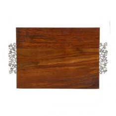 Emanuel Wood Challah Board with Pomegranate Metal Handles