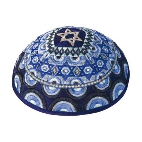 Embroidered Blue Kippah, Star of David Decoration by Yair Emanuel