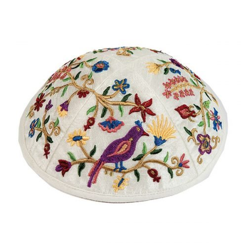 Embroidered Kippah with Birds and Flowers, Multicolored - Yair Emanuel