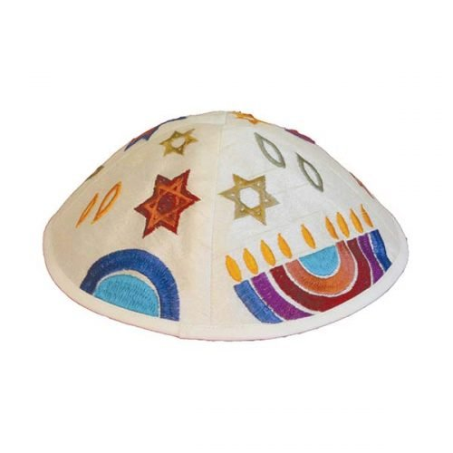 Embroidered Kippah with Judaica Symbols, Multicolored - Yair Emanuel