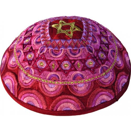 Embroidered Pink & Gold Kippah, Star of David Decoration by Yair Emanuel