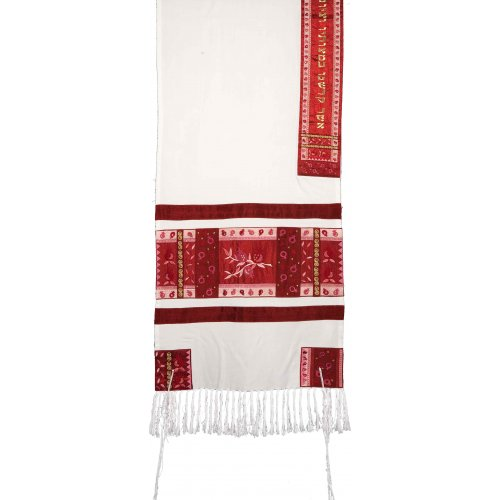 Embroidered Red Silk Prayer Shawl Set with Pomegranate Design - Yair Emanuel