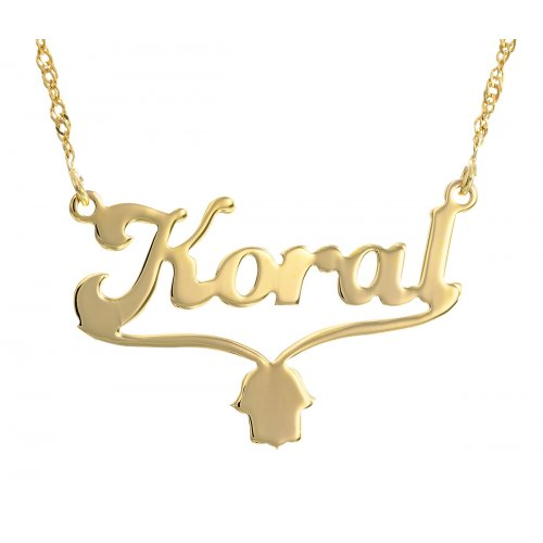 English Cursive 18k Gold Plated Name Necklace with Hamsa Hand