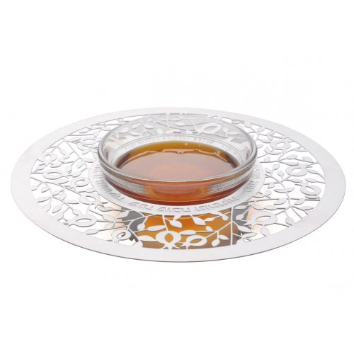 Engraved Honey Dish with Decorative Lucite Spoon, Pomegranates - Dorit Judaica