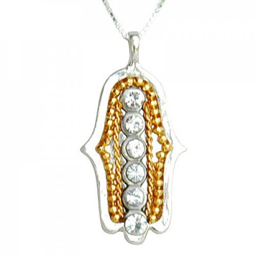 Ester Shahaf 6 Crystal Hamsa Necklace