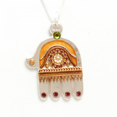 Ester Shahaf Gold and Maroon Hamsa Necklace