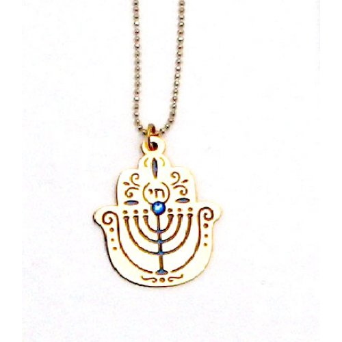 Ester Shahaf Hamsa Menorah Necklace