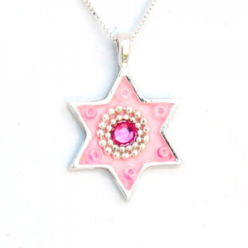 Ester Shahaf Pink Star of David Necklace