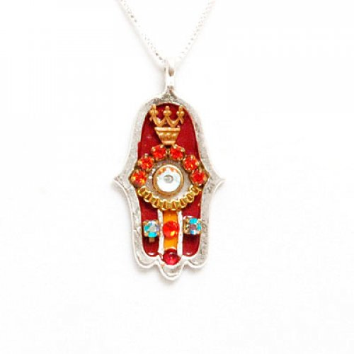 Ester Shahaf Red Hamsa Necklace