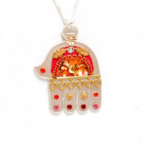 Ester Shahaf Red and Orange Hamsa Necklace