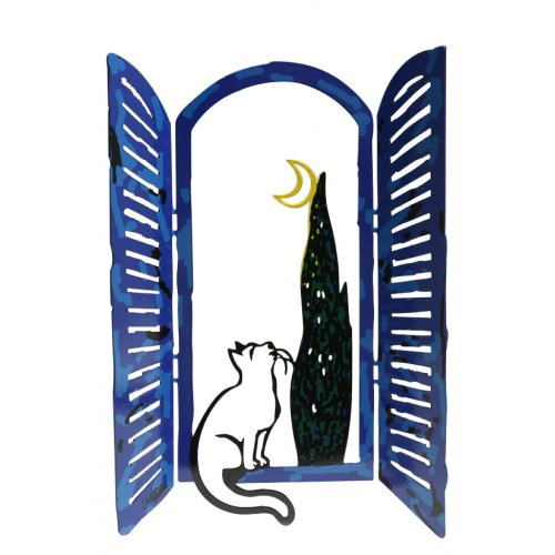 Free Standing Open Window Sculpture - Cat Moon and Tree by David Gerstein