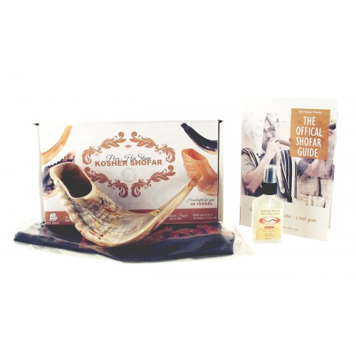 Gift Box Shofar Set with Natural Ram's Horn, spray and pouch