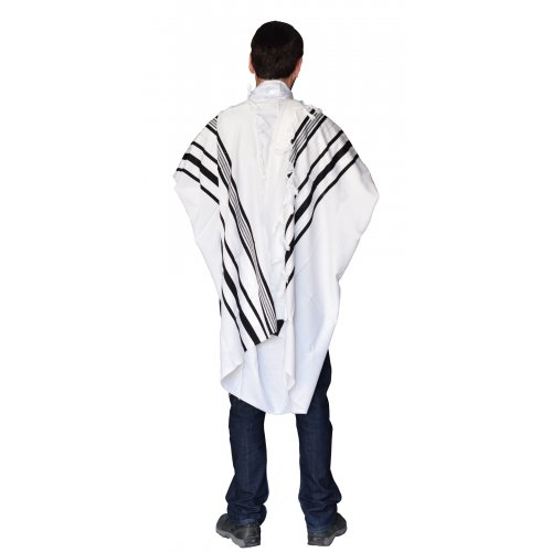 Gilboa Light Weight Wool Prayer Shawl Tallit by Talitnia - Black Stripes