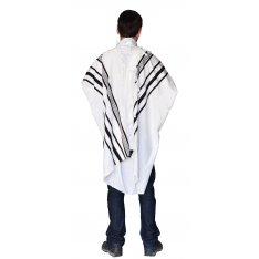 Gilboa Light Weight Wool Prayer Shawl Tallit by Talitnia - Black Strips