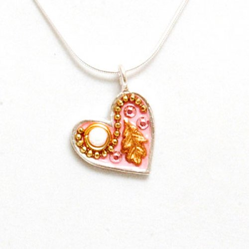 Gold Color Flower Silver Heart Necklace in Pink