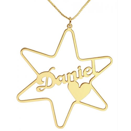 Gold Filled Star Cursive English Name Necklace with Heart