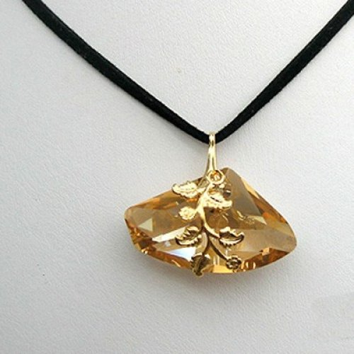 Gold Style Nugget Necklace on Black Cord - Edita