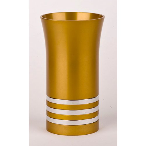 Gold with Stripes Anodized Aluminium Kiddush Cup by Agayof