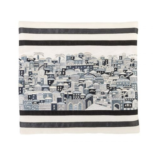 Gray and Black Embroidered Tallit Bag, Jerusalem by Yair Emanuel
