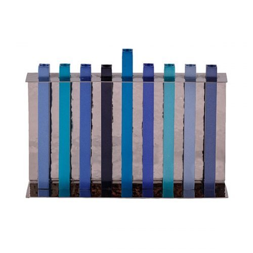 Hammered Aluminum Hanukkah Menorah with Blue Stilts Design - Yair Emanuel