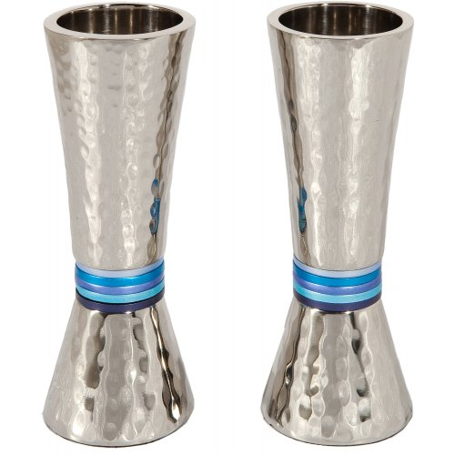 Hammered Nickel Cone Candlesticks with Colored Rings - Yair Emanuel