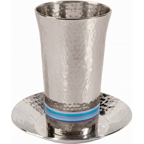 Hammered Nickel Kiddush Cup and Saucer, Colored Rings by Yair Emanuel
