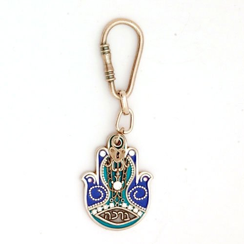 Hamsa Key Chain in Blue and Green - Ester Shahaf