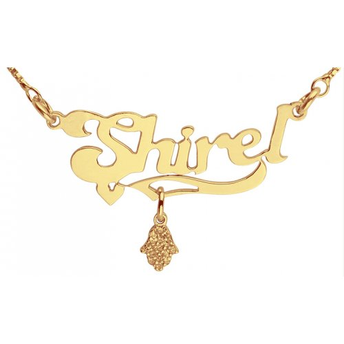 Hamsa Pendant Gold Filled English Name Necklace