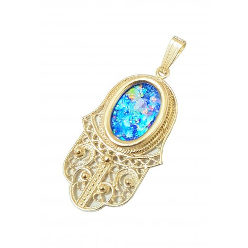 Hamsa Pendant of 14K Gold with Roman Glass Center and Filigree Design