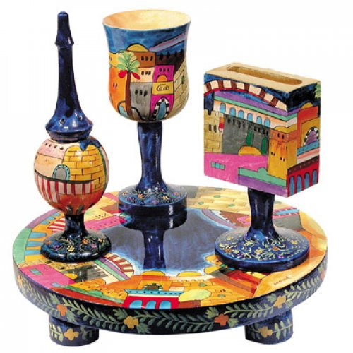 Hand Painted 4-Piece Wood Havdalah Set, Jerusalem - Yair Emanuel
