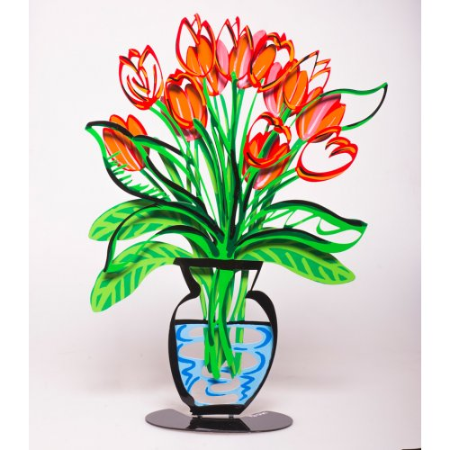 Hand Painted Flower Vase Sculpture with Stand, Red Tulips - Tzuki Art