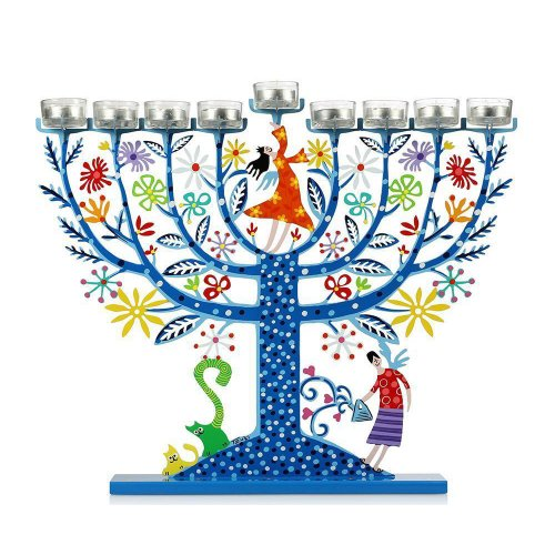 Hand Painted Hanukkah Menorah, Two Women on Flowery Tree, Blue - Tzuki Art