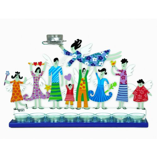 Hand Painted Hanukkah Menorah with Joyful Family, Blue - Tzuki Art
