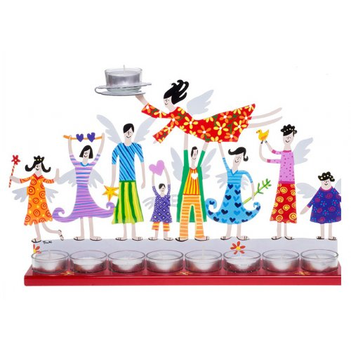 Hand Painted Hanukkah Menorah with Joyful Family, Red - Tzuki Art