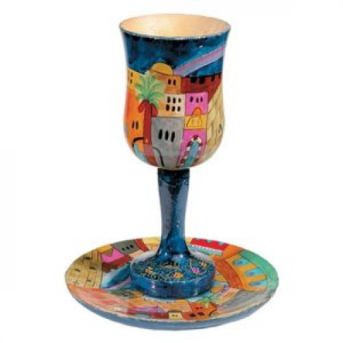 Hand Painted Large Wood Cup with Coaster, Jerusalem Views - Yair Emanuel