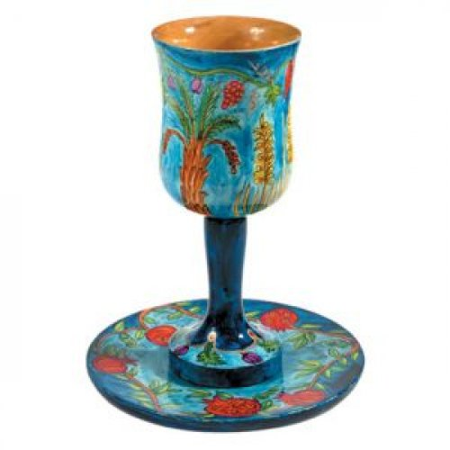 Hand Painted Large Wood Kiddush Cup with Coaster, Seven Species - Yair Emanuel