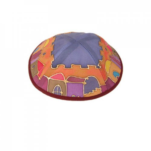 Hand Painted Multicolored Silk Kippah, Jerusalem Images by Yair Emanuel