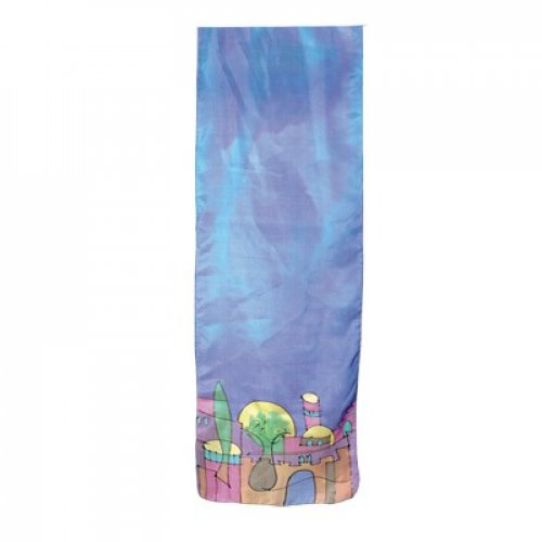 Hand Painted Narrow Pure Silk Scarf, Jerusalem on Blue - Yair Emanuel